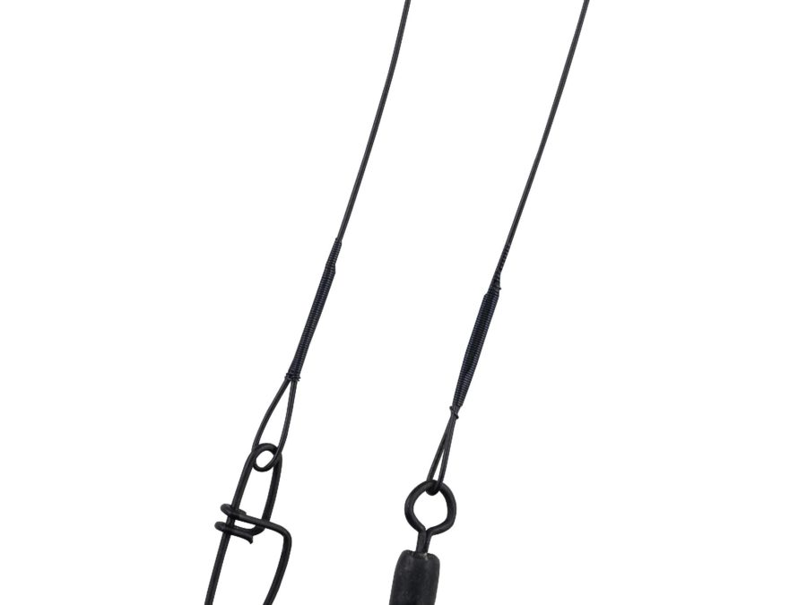 Wire-Wound Steelon Leaders – 6″ Length, 20 lb Line Tested, Black, Per 3